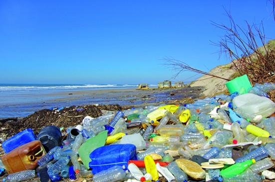 plage pollue de dchets plastiques flottants